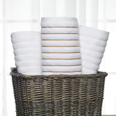 Wicker basket of luxury beach towels